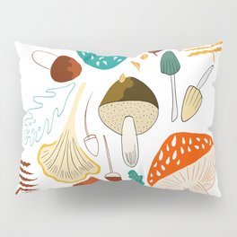 Mushrooms and leaves in autumn Pillow Sham