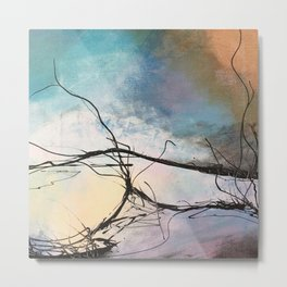 Heaven and Hell Abstract Painting by Jodi Tomer Cloudy Painting Sticks Metal Print