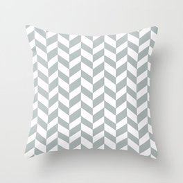 HERRINGBONE DESIGN (SILVER-WHITE) Throw Pillow