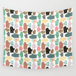 Happy White Winter - Small colorful xmas, floral, pepita, pastel warped checks mittens pattern Wall Tapestry