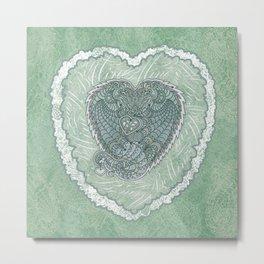 Dragon Hearts in Green Metal Print