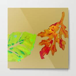 Fall Leaves, tan orange green gold, acrylic painting and digital Metal Print