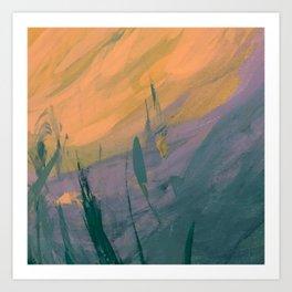 Minimal Sunny Day Landscape Acrylic Painting Art Print