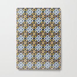 Yellow and Blue Moroccan Tile Metal Print