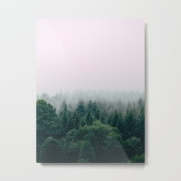 Misty Green Pine Forest Grey Fog Metal Print
