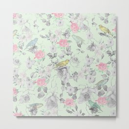 Vintage Pink White Mint Green Bird Floral Collage Metal Print