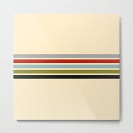 Abstract Minimal Retro Stripes 70s Style - Shigenaga Metal Print
