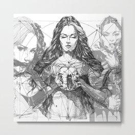 SOLVE ET COAGULA. New Composition. Ladies. Damascus. Triptych. Part 2. Illustration. INK ART. Yury F Metal Print