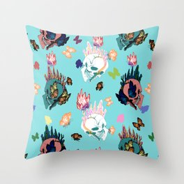 Skulls and Butterflies Colored Pattern Throw Pillow
