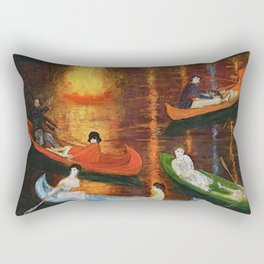 'Fete on the Water with Friends' painting portrait by Florine Stetthimer Rectangular Pillow