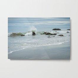 Wave on Rocks Creates Ocean Spray Metal Print
