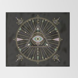Evil Eye Mandala – Black Throw Blanket