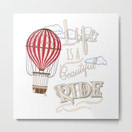 Retro Hot Air Balloon Balloonist Optimism Optimist Gift Metal Print