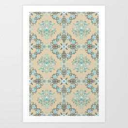 Vintage Floral - Light Blue Art Print