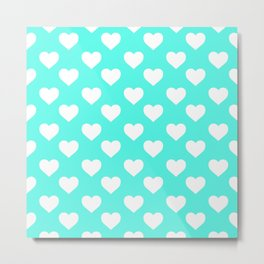 Hearts (White & Turquoise Pattern) Metal Print