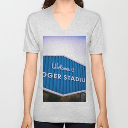 Welcome to Dodger Stadium | Los Angeles California Nostalgic Iconic Sign Sunset Art Print Tapestry Unisex V-Neck