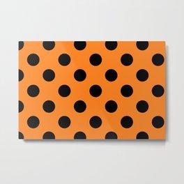 Halloween Black Orange Polka Dot Metal Print