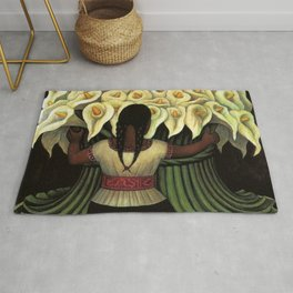 1941 Classical Masterpiece Calla lily 'Flower Seller' by Diego Rivera Rug
