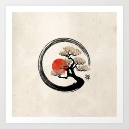 Enso Circle and Bonsai Tree on Canvas Art Print