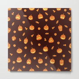Halloween pattern with candy and pumpkin scary faces hand drawn illustration on dark background Metal Print