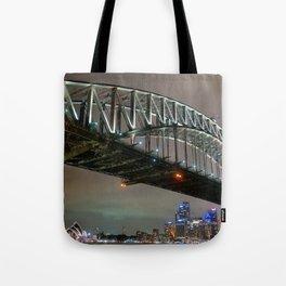 Sydney Harbour Bridge Across Cityscape At Night Ultra HD Tote Bag