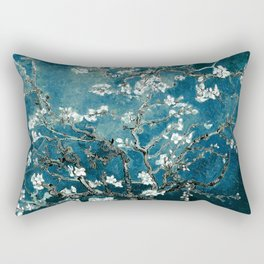 Van Gogh Almond Blossoms : Dark Teal Rectangular Pillow