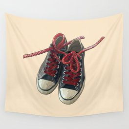 Converse Sneakers With Licorice Candy Shoelaces Wall Tapestry