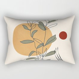 Minimal Line Young Leaves Rectangular Pillow