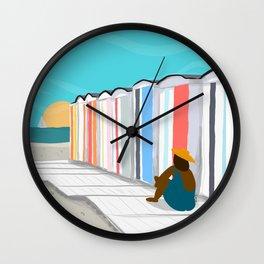 Cabanes de plage Wall Clock
