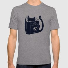 World Domination For Cats Tri-Grey LARGE Mens Fitted Tee