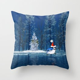 Christmas Blue Bird On Ice Throw Pillow