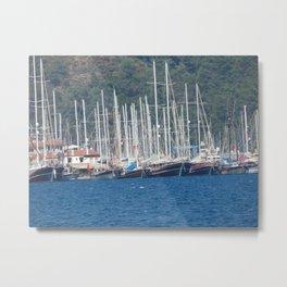 Yachting marina of Marmaris in Turkey resort town on the Aegean Sea Metal Print