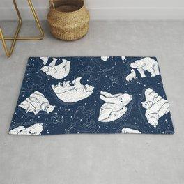 Polar Bear and Constellation Arctic Night Sky Stars Rug