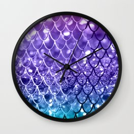 Mermaid Scales on Unicorn Girls Glitter #19 #shiny #decor #art #society6 Wall Clock