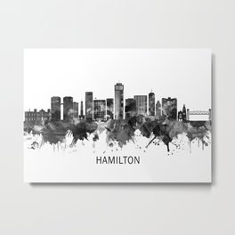 Hamilton Canada Skyline BW Metal Print