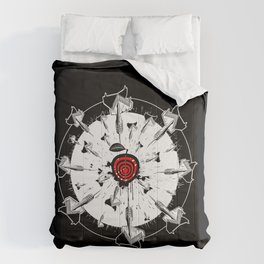 Abstract installation on the theme of darts. Comforters