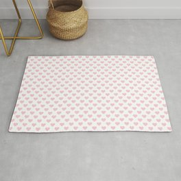 Large Millennial Pink Pastel Love Hearts On White Rug