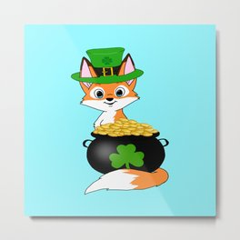 Irish Fox with Gold Metal Print