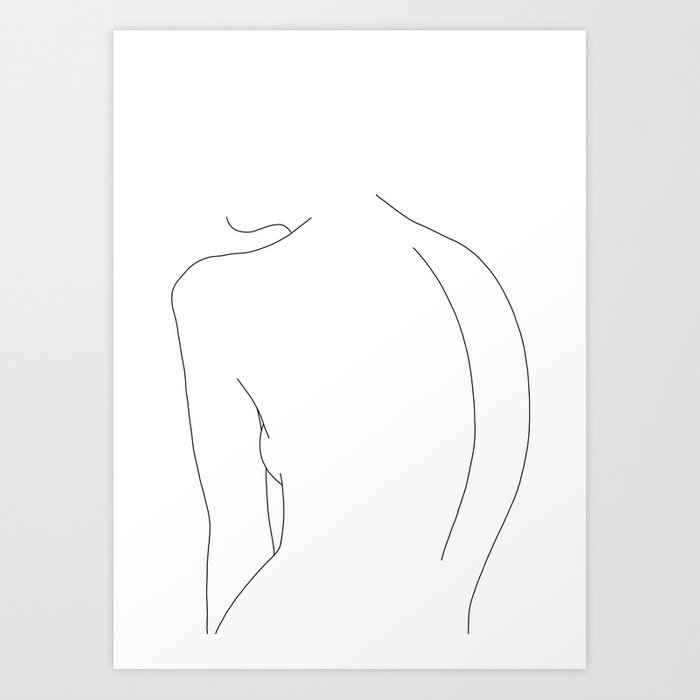 Minimal line drawing of women's body - Alex Art Print