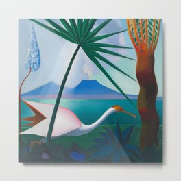 Neapolitan Song, Mount Vesuvius Italian seascape painting by Joseph Stella Metal Print