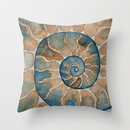 Ammonite fossil watercolor painting Throw Pillow