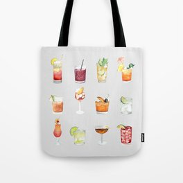 Classic Watercolor Cocktails Drinks Tote Bag
