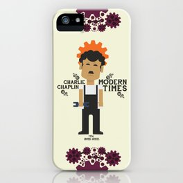Charlie Chaplin, Modern Times, minimal movie poster iPhone Case