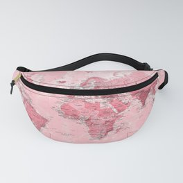 Pink World Map Fanny Pack
