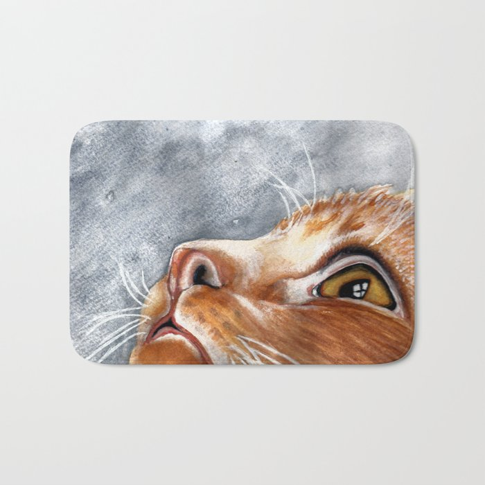 Ginger Cat Watercolour Painting Bath Mat by scarletwild