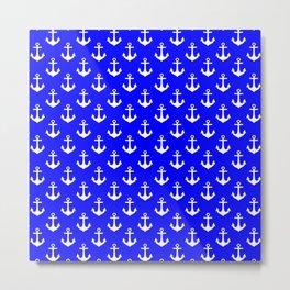 Anchors (White & Blue Pattern) Metal Print