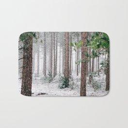 Snowy Pine trees Bath Mat