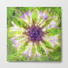 Purple Green Abstract Flower Metal Print