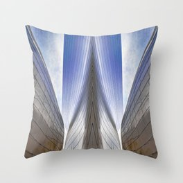 Architectural Abstract of a metal clad building looking skyward Throw Pillow