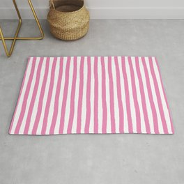 Pink and White Cabana Stripes Palm Beach Preppy Rug